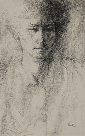 JOHN HOWARD GOULD  Head of Hetty Conte crayon