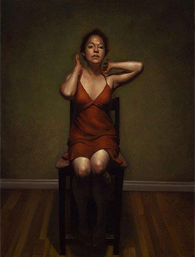DANIEL HUGHES Red Dress 1 Oil on canvas