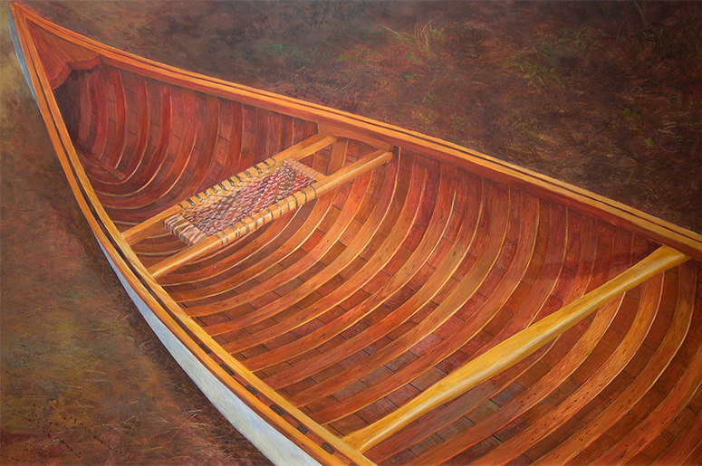 ALAN BATEMAN Canoe on Forest Floor Acrylic on board