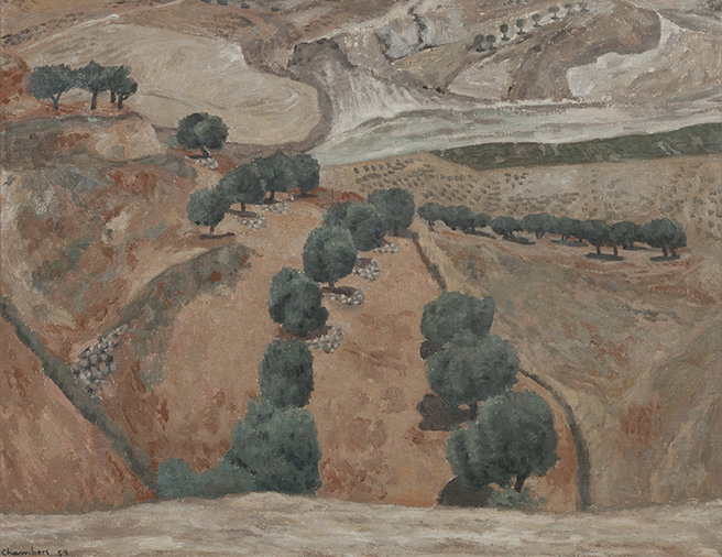 "JOHN R. (""JACK"") CHAMBERS Olive Grove Oil on canvas"